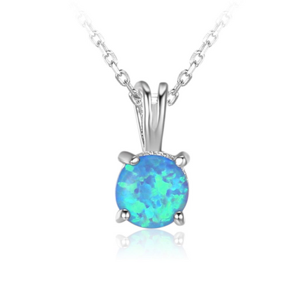 Necklaces, Opal Necklace, Blue Opal, Created Opal, Sterling Silver, Jewellery, Jewelry