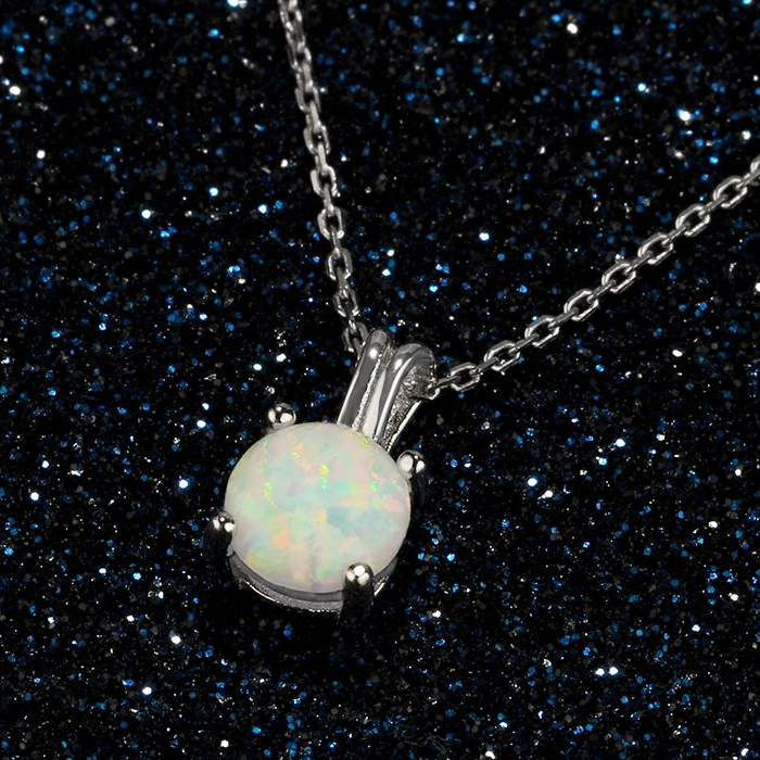 Necklaces, Opal Necklace, White Opal Necklace, Created Opal, Sterling Silver, Jewellery, Jewelry