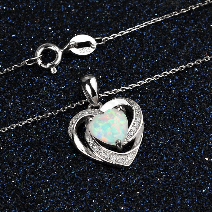 Necklaces, Opal Necklace, White Opal, Heart Necklace, Created Opal, Sterling Silver, Jewellery, Jewelry