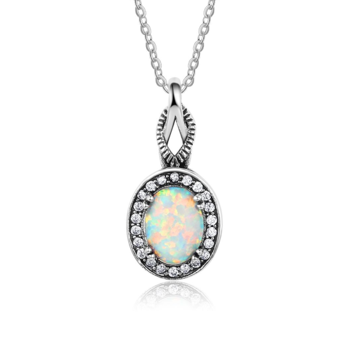 Necklaces, Opal Necklace, White Opal, Vintage Ring, Created Opal, Sterling Silver, Jewellery, Jewelry