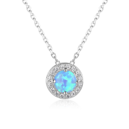 Necklaces, Opal Necklace, Blue Opal, Halo Necklace, Created Opal, Sterling Silver, Jewellery, Jewelry