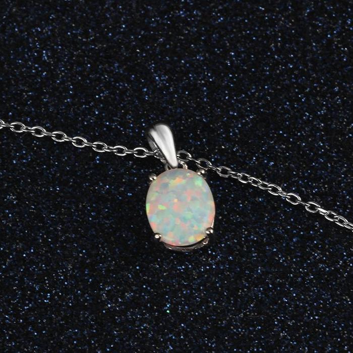 Necklaces, Opal Necklace, White Opal, Created Opal, Sterling Silver, Jewellery, Jewelry