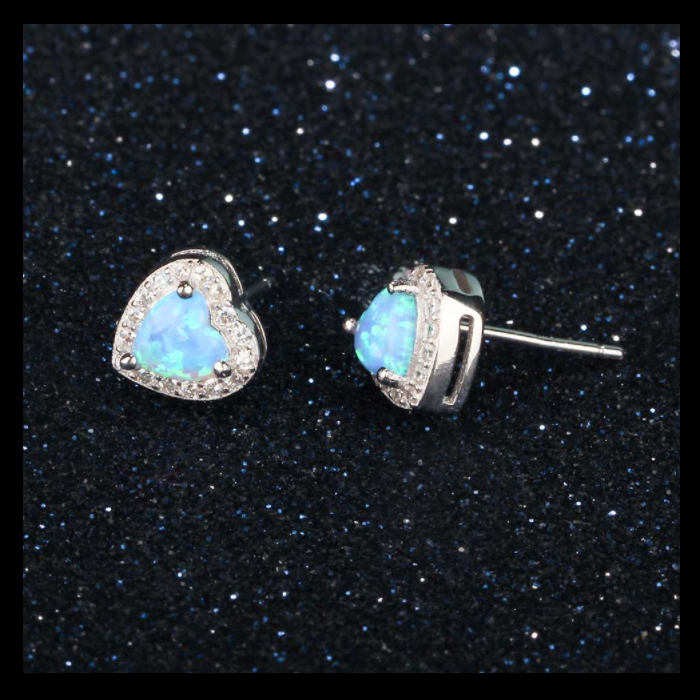 Studs, Heart Studs, Opal Studs, Earrings, Opal Earrings, Blue Opal, Halo Earrings, Stud Earrings, Created Opal, Sterling Silver, Jewellery, Jewelry