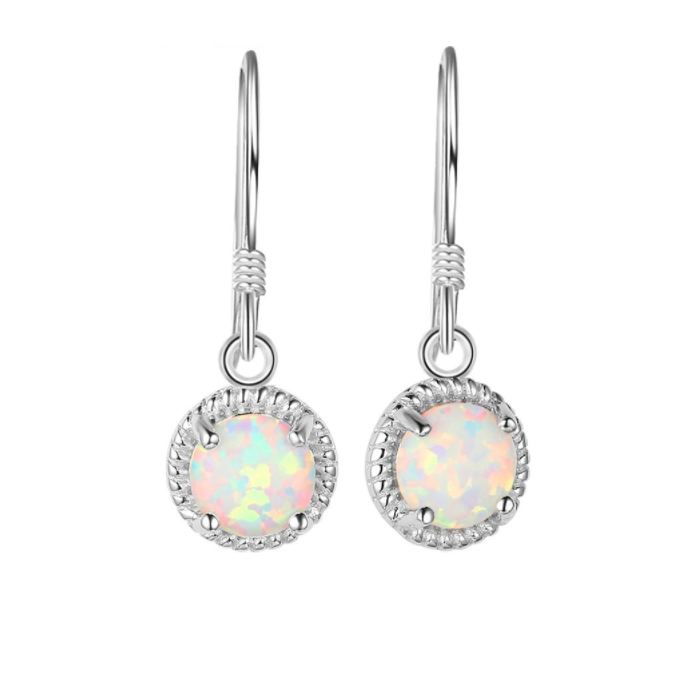 Earrings, Opal Earrings, White Opal, Halo Earrings, Drop Earrings, Created Opal, Sterling Silver, Jewellery, Jewelry