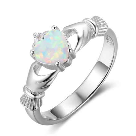 Rings, Opal Rings, White Opal, Promise Ring, Heart Ring, Claddagh Ring, Created Opal, Sterling Silver, Jewellery, Jewelry