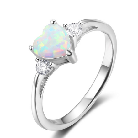 Rings, Opal Rings, White Opal, Promise Ring, Heart Ring, Created Opal, Sterling Silver, Jewellery, Jewelry