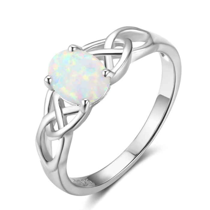 Rings, Opal Rings, Celtic Ring, White Opal, Created Opal, Sterling Silver, Jewellery, Jewelry