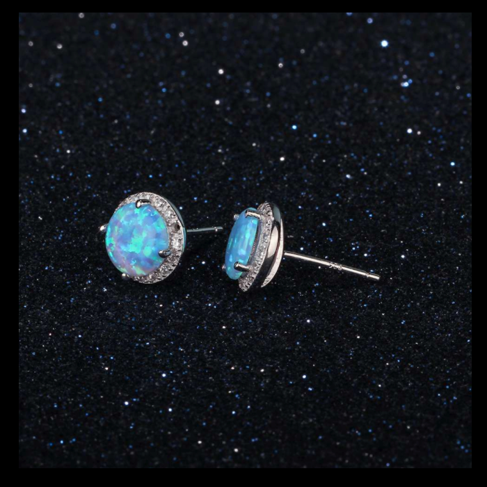 Earrings, Opal Earrings, Blue Opal, Halo Earrings, Stud Earrings, Studs, Created Opal, Sterling Silver, Jewellery, Jewelry