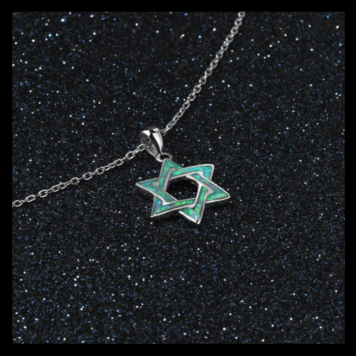 Necklaces, Opal Necklace, Blue Opal, Star Necklace, Hexagram Necklace, Created Opal, Sterling Silver, Jewellery, Jewelry