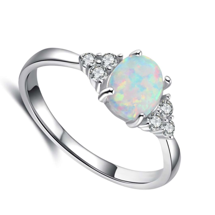 Rings, Opal Rings, White Opal, Created Opal, Sterling Silver, Jewellery, Jewelry