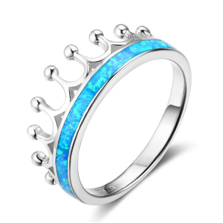 Rings, Opal Rings, Blue Opal, Created Opal, Crown Ring, Sterling Silver, Jewellery, Jewelry