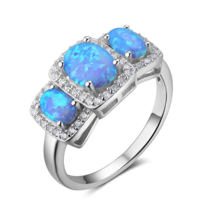 Rings, Opal Rings, Blue Opal, Halo Ring, Created Opal, Sterling Silver, Jewellery, Jewelry
