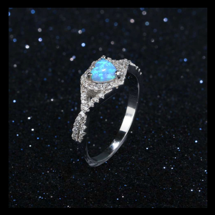 Rings, Opal Rings, Heart Ring, Blue Opal, Created Opal, Sterling Silver, Jewellery, Jewelry