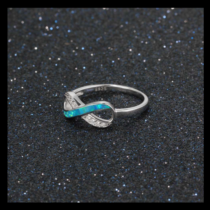 Rings, Opal Rings, Infinity Ring, Blue Opal, Created Opal, Sterling Silver, Jewellery, Jewelry