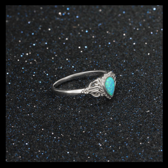 Rings, Opal Rings, Teardrop Ring, Blue Opal, Created Opal, Sterling Silver, Jewellery, Jewelry