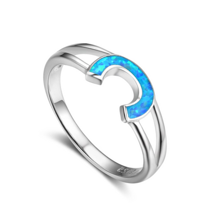 Rings, Opal Rings, Blue Opal, Horseshoe Ring, Created Opal, Sterling Silver, Jewellery, Jewelry