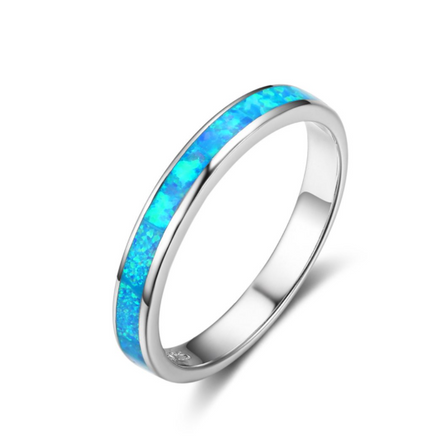 Rings, Opal Rings, Blue Opal, Created Opal, Promise Ring, Sterling Silver, Jewellery, Jewelry