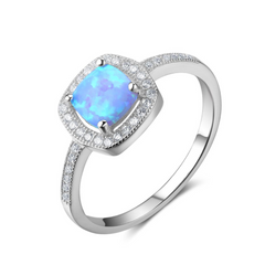 Rings, Opal Rings, Halo Ring, Blue Opal, Created Opal, Sterling Silver, Jewellery, Jewelry