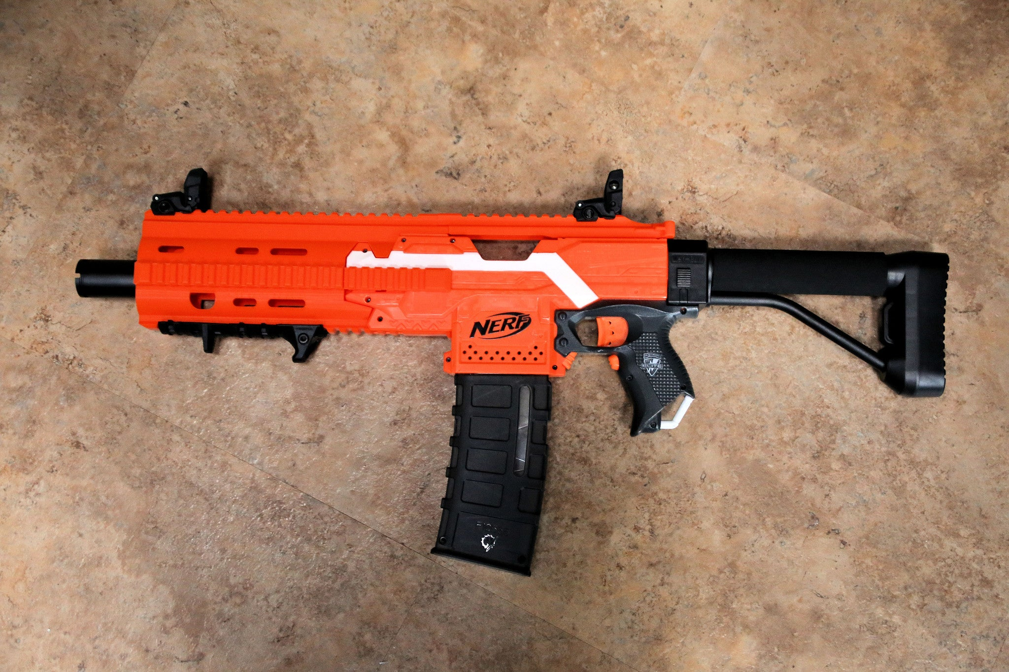 Nerf Stryfe Color matched HK417 kit Orange and new Elite blue