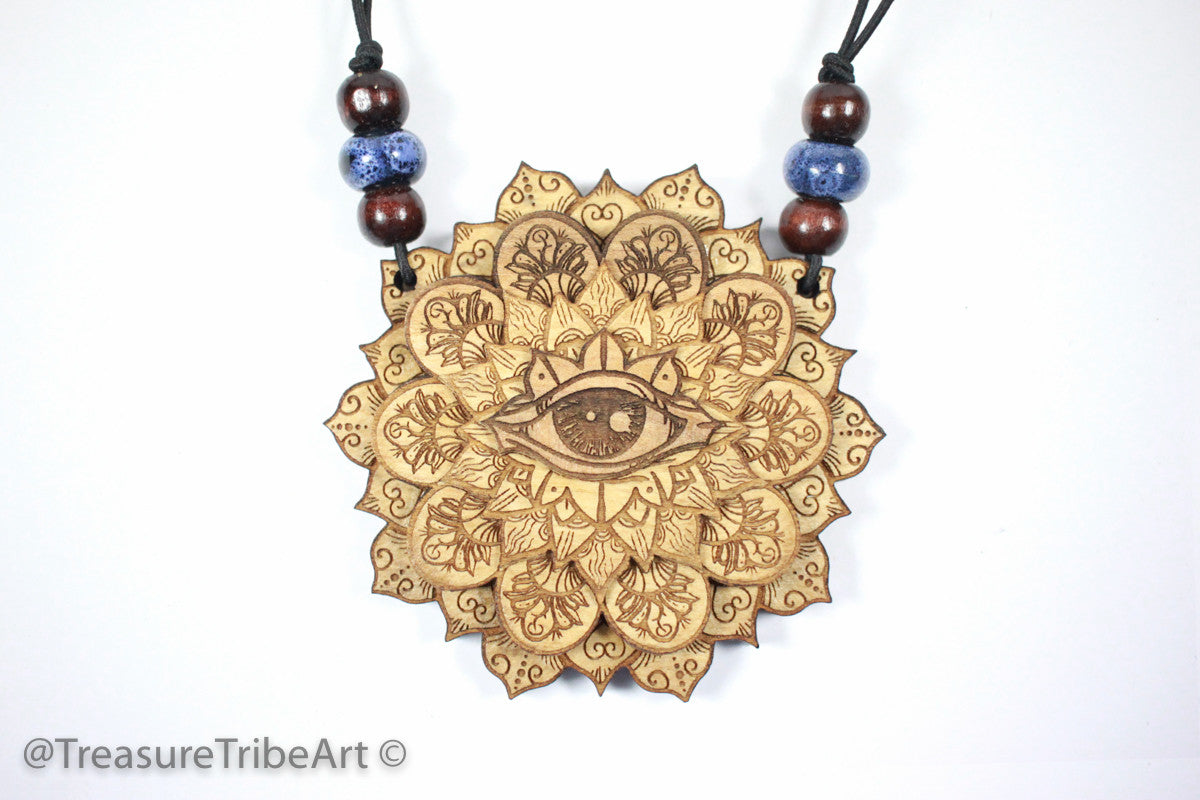 All Seeing Eye Magnetic Stash Pendant | Maple Wood Item #1052