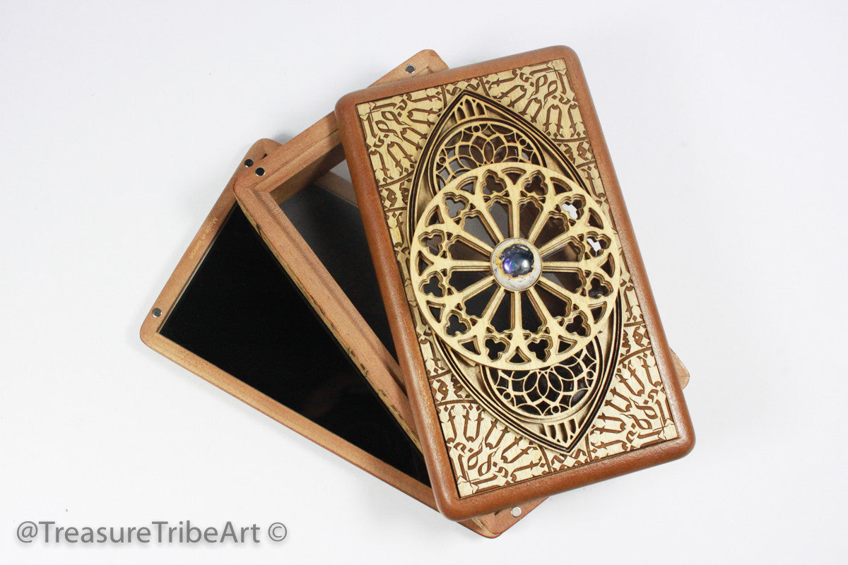 One of a kind! 4x7 Fine Art Screen Box/Stash Box | Featuring Mexican Opal and see through window! Item #1082 - Treasure Tribe Art