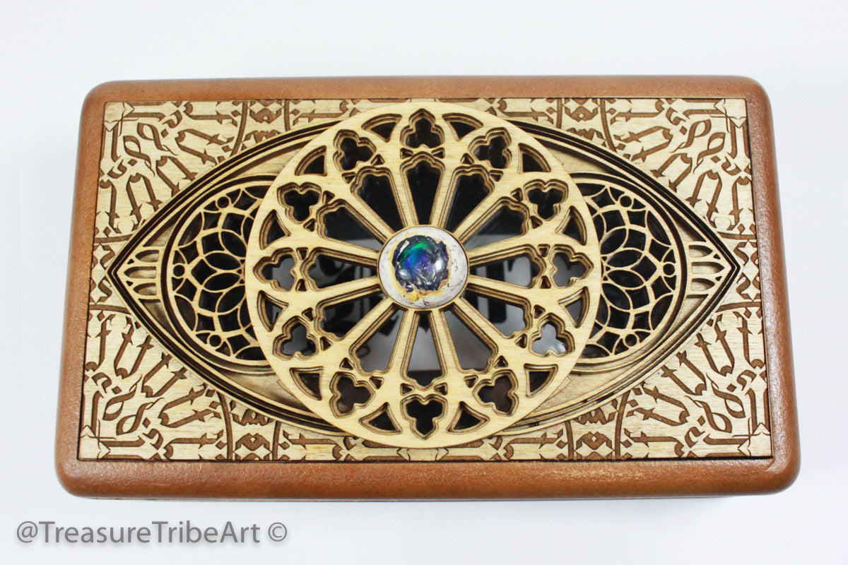 One of a kind! 4x7 Fine Art Screen Box/Stash Box | Featuring Mexican Opal and see through window! Item #1082