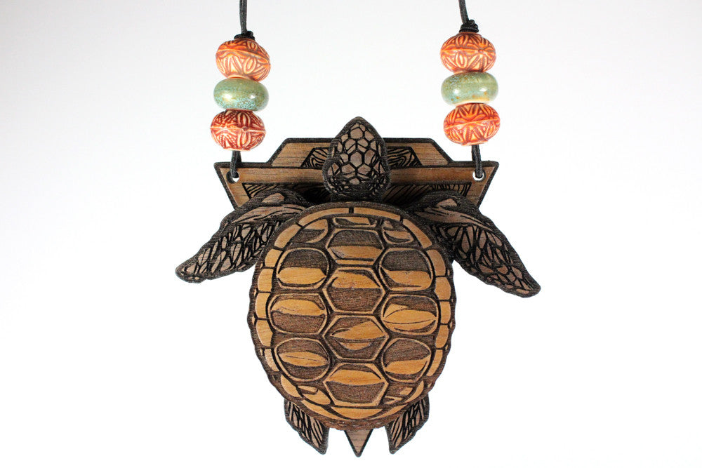 Turtle Totem Magnetic Stash Pendant | Walnut Wood Item #1072 - Treasure Tribe Art