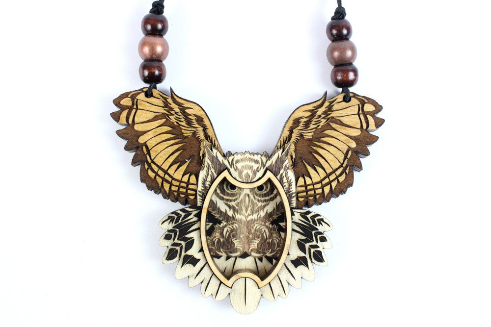Flying Owl Magnetic Stash Pendant | Maple Wood Item #1030 - Treasure Tribe Art