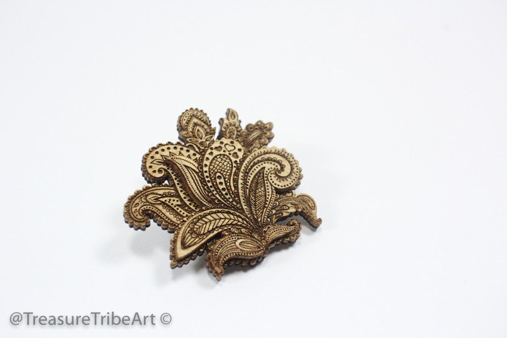 Paisley Hat Pin - Maple Wood Item #1051