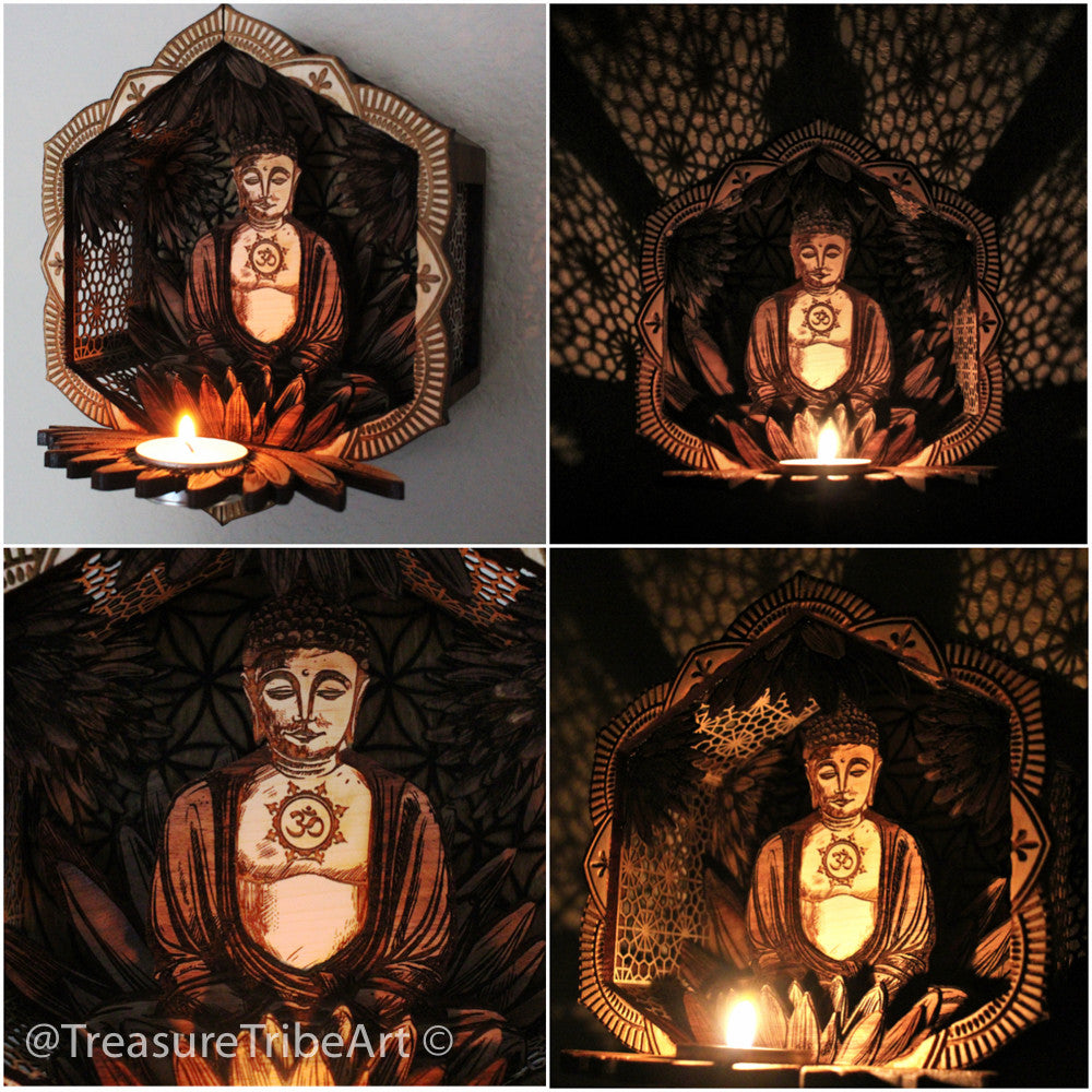Buddha Votive Wall Hang W/Stand Item #1009 - Treasure Tribe Art