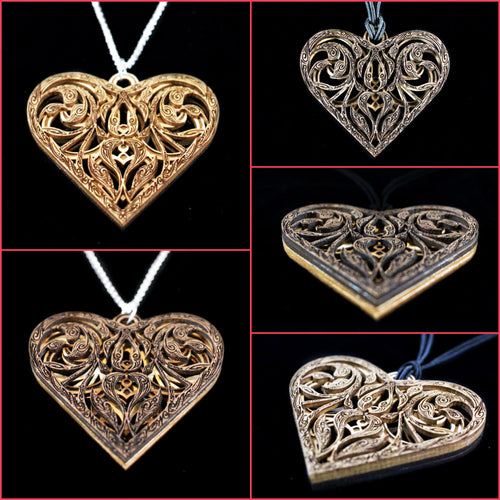 Reversible Walnut and Maple Heart Pendant Item #1057