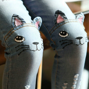 Spring cat jeans for girls