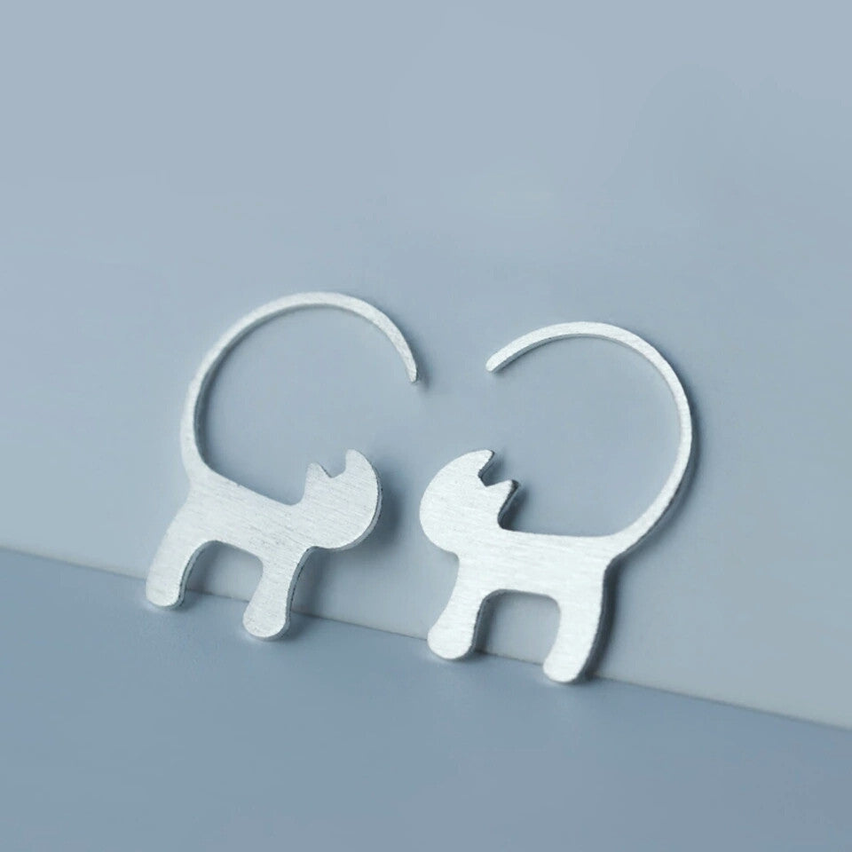 Sterling Silver Earrings - Long Tailed Cat