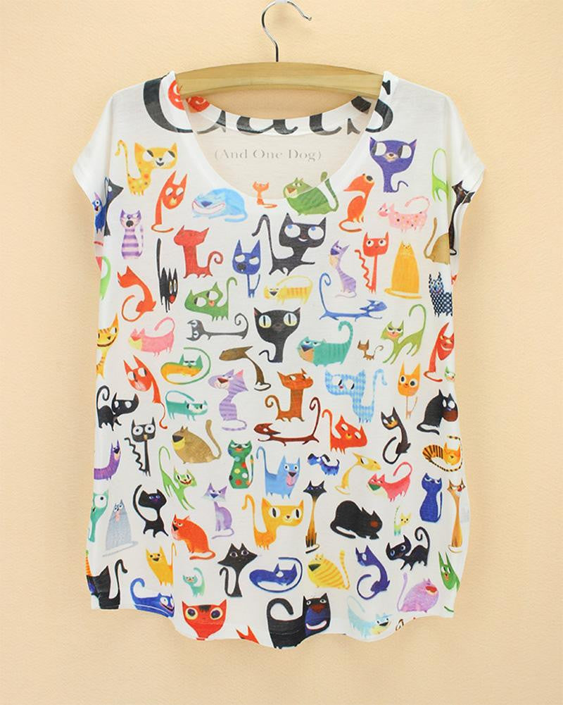 Doodle Cats Print Tshirt for ladies