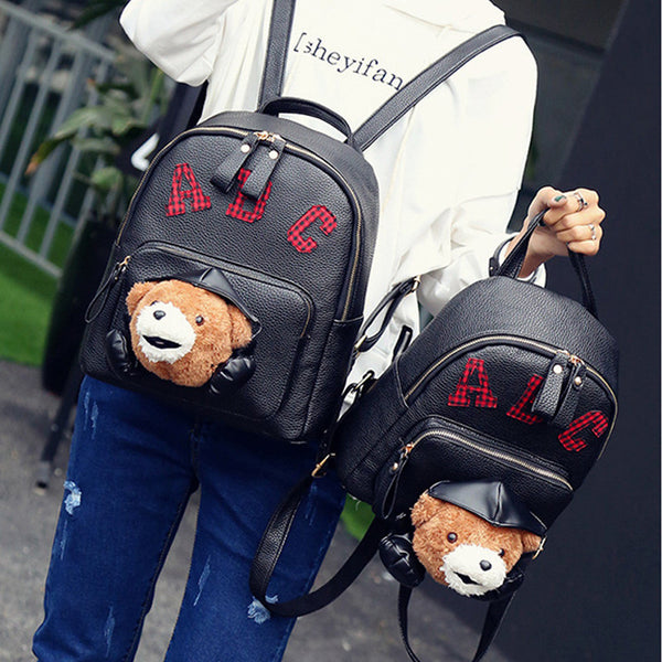 Girl backpack 3D cartoon bear