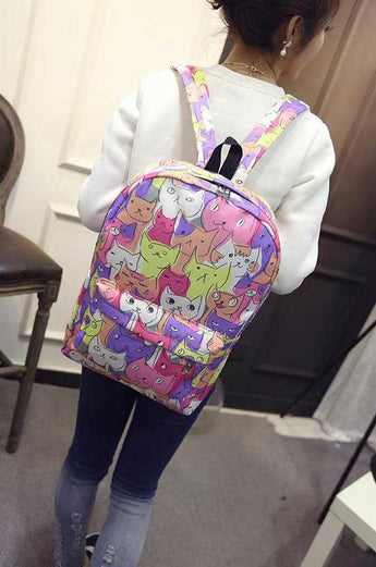 Cute cats print backpack