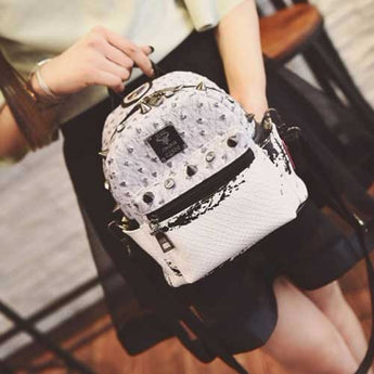Backpack diamond rivet pattern