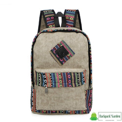 Ethnic school backpack Grey