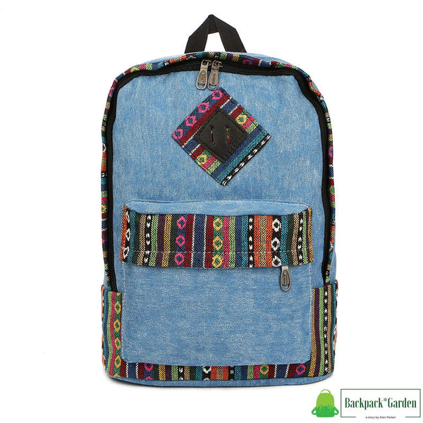 Ethnic school backpack Blue
