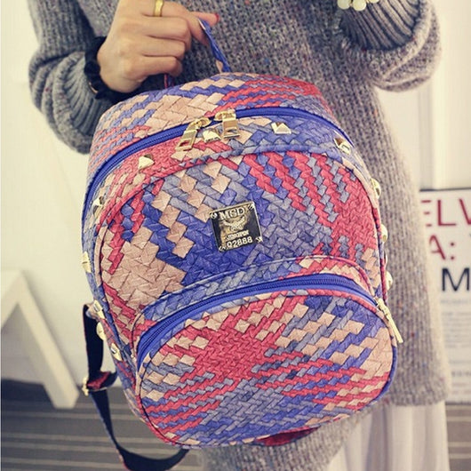 Girly backpack weave leather bag