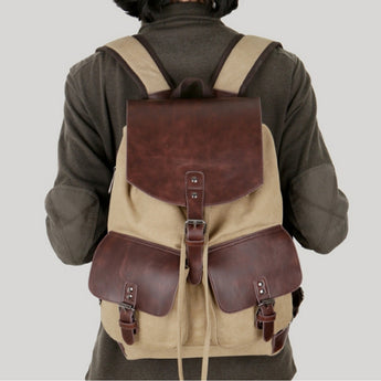 Leather backpack double pockets