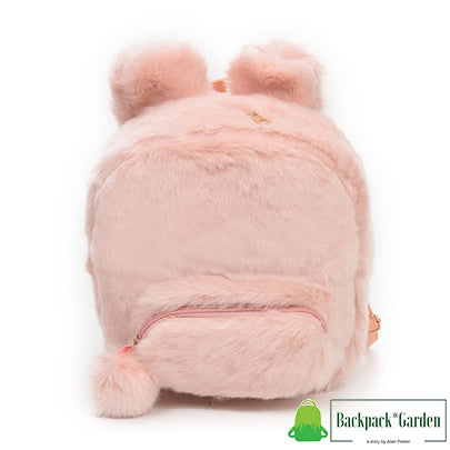 Plush bunny backpack model unagi pink