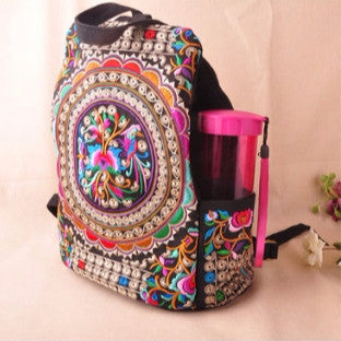 Travel backpack embroidered flower