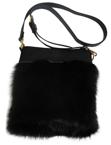 HB FOX FUR AND LEATHER HANDBAG