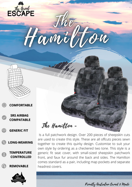 The Hamilton is a full patchwork design. Over 200 pieces of sheepskin cuts are used to create this style. These are all offcuts pieces sewn together to create this quirky design. Customise to suit your own style by ordering as a checkered two tone. This style is a generic fit seat cover, with small-sized sheepskin patchwork front, and faux fur around the back and sides. The Hamilton comes standard as a pair, including map pockets and separate headrest covers.
