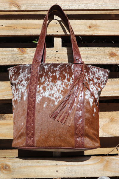 HB COW HIDE TOTE BAG - CROSS DETAIL STRAPS