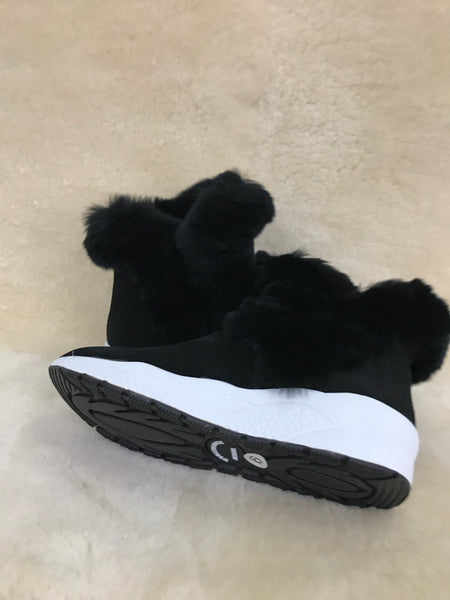FW WF SNEAKER SHEEPSKIN WITH RABBIT FUR TRIM