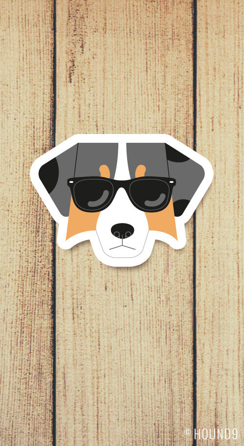 australian shepherd dog wearing sunglasses strong weatherproof vinyl decal sticker