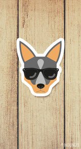 blue heeler cattle dog wearing sunglasses strong weatherproof vinyl decal sticker