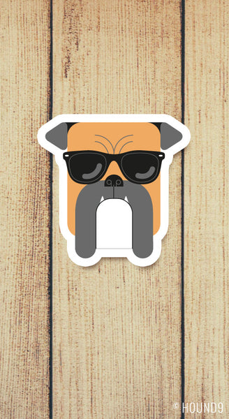 boxer dog wearing sunglasses strong weatherproof vinyl decal sticker